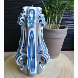 Bougie sculptée, grande bleue