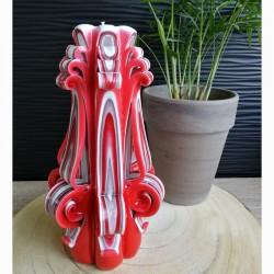 Bougie sculptée, grande rouge